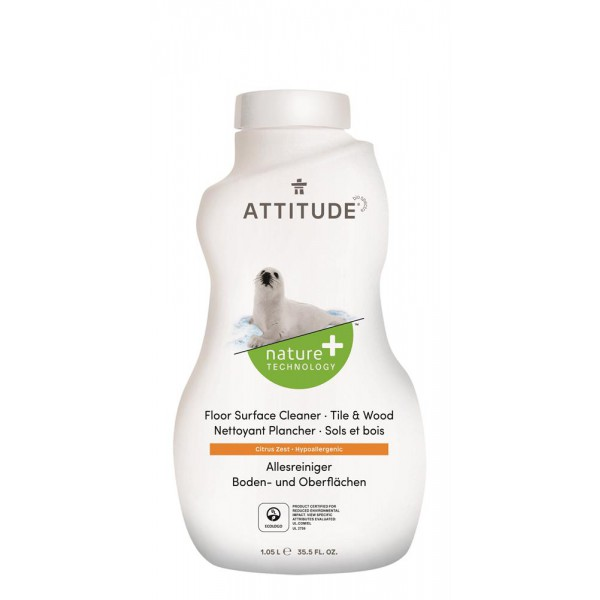 Čistilo za lesena tla in ploščice Attitude (citrusi)